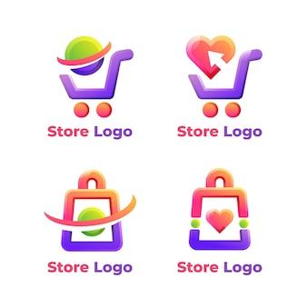 Conjunto de plantillas de logotipos de comercio electrónico.