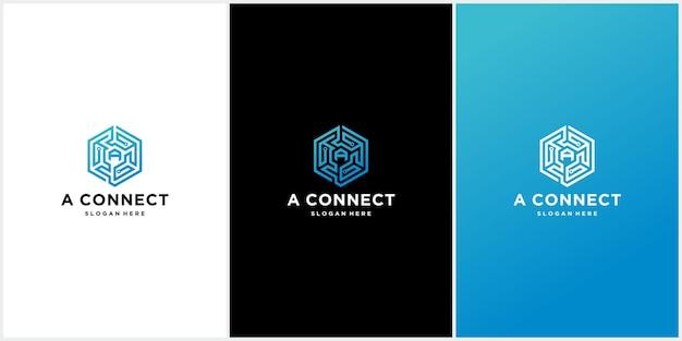 Conjunto de plantillas de logotipos de conexión