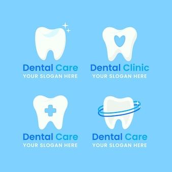 Conjunto de plantillas de logotipos dentales planos