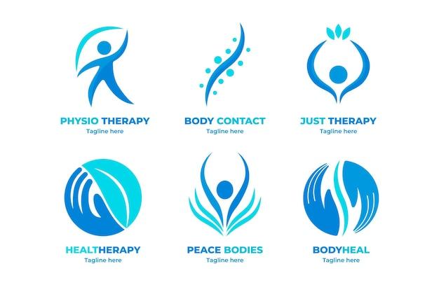 Conjunto de plantillas de logotipos de fisioterapia plana