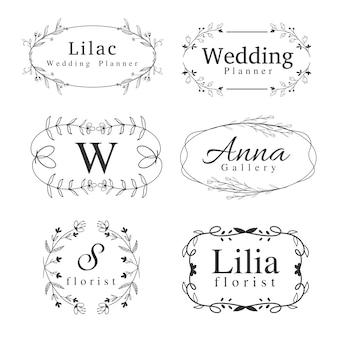 Conjunto de plantillas de logotipos de flores con remolinos dibujados a mano, marcos de bordes y zonas verdes para bodas