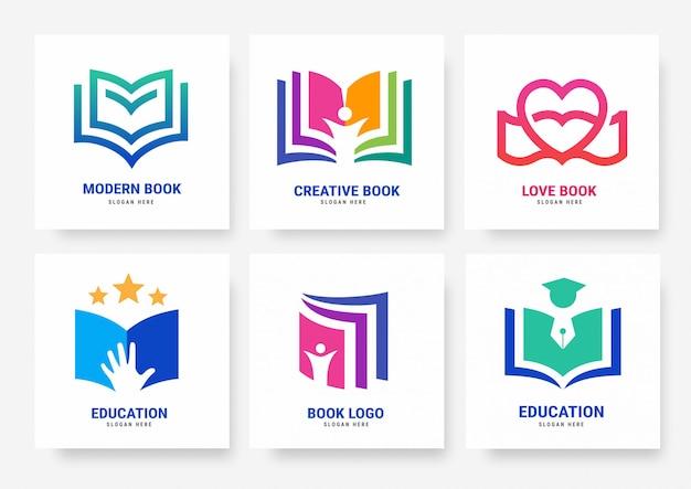 Conjunto de plantillas de logotipos de libros