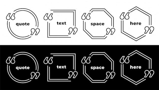 Conjunto de plantillas de marco de citas de estilo de línea