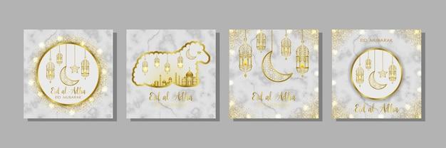 Conjunto de plantillas de mármol eid al adha