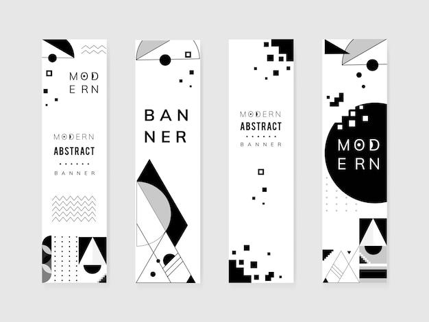 Conjunto de plantillas moderno blanco y negro abstracto
