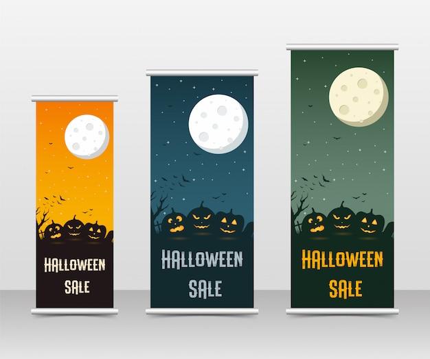 Conjunto de plantillas de negocio feliz halloween roll up