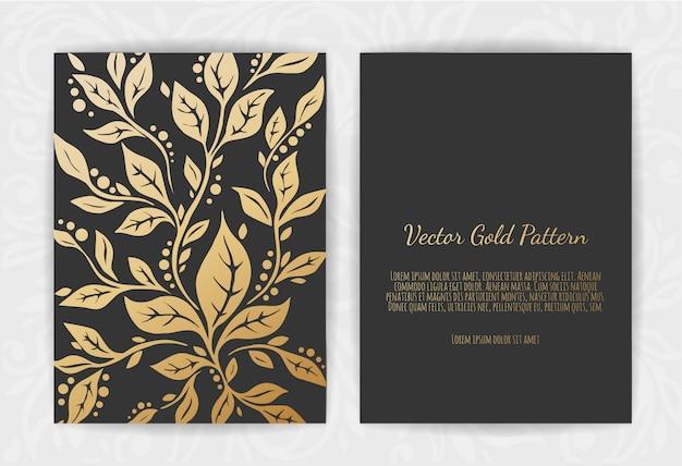 Conjunto de plantillas negras y doradas.