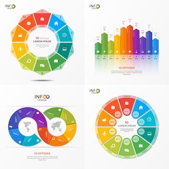 Conjunto de plantillas de opciones de infografía vectorial
