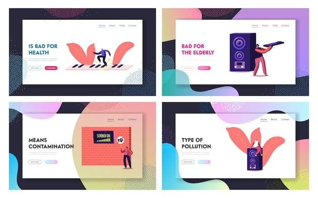 Conjunto de plantillas de página de aterrizaje de contaminación acústica.