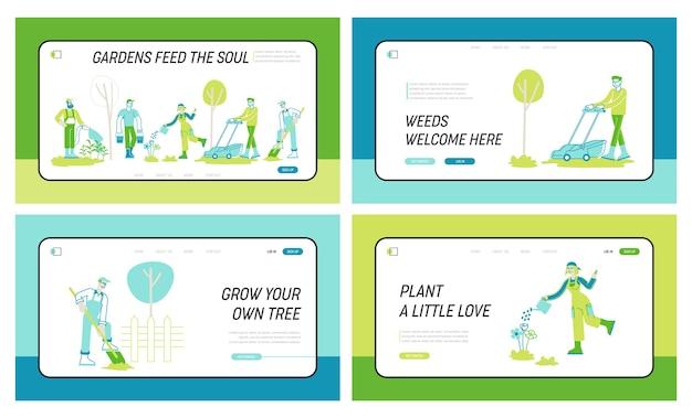 Conjunto de plantillas de página de aterrizaje de trabajo de jardinería