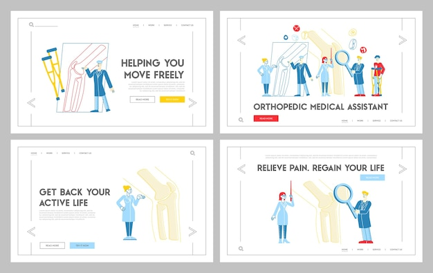 Conjunto de plantillas de página de destino de citas de atención médica de ortopedia