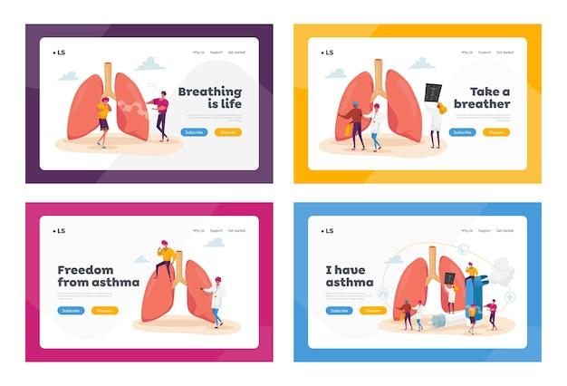 Conjunto de plantillas de página de destino de enfermedades de neumología y asma