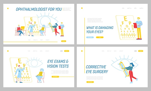 Conjunto de plantillas de página de destino de examen de óptico profesional