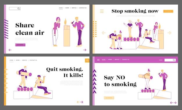 Conjunto de plantillas de página de destino de fumadores y adicción a fumar