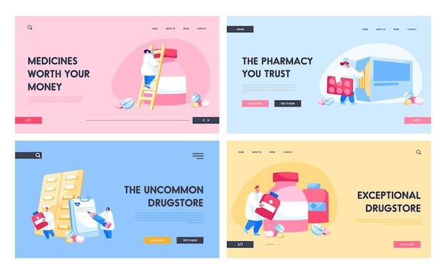 Conjunto de plantillas de página de destino de hospital de farmacia