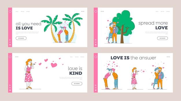 Conjunto de plantillas de página de destino de personas besándose y abrazándose