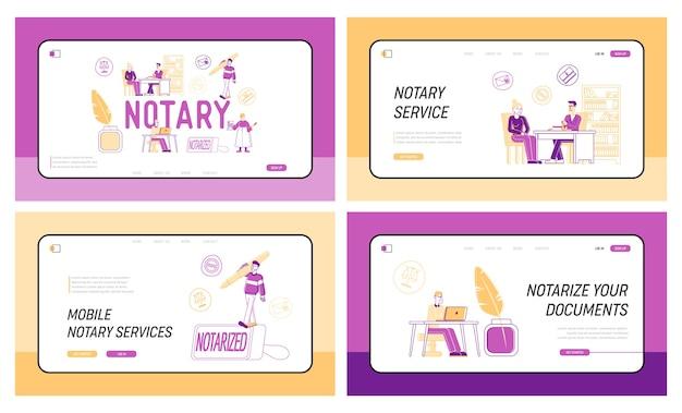 Conjunto de plantillas de página de destino de servicio profesional de abogado de autorización de documentos notariales