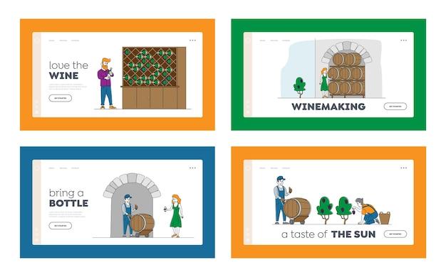 Conjunto de plantillas de página de destino de vinificación