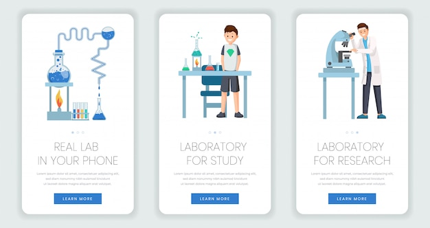 Conjunto de plantillas de página web móvil de laboratorio de investigación