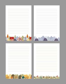 Conjunto de plantillas de páginas de bloc de notas