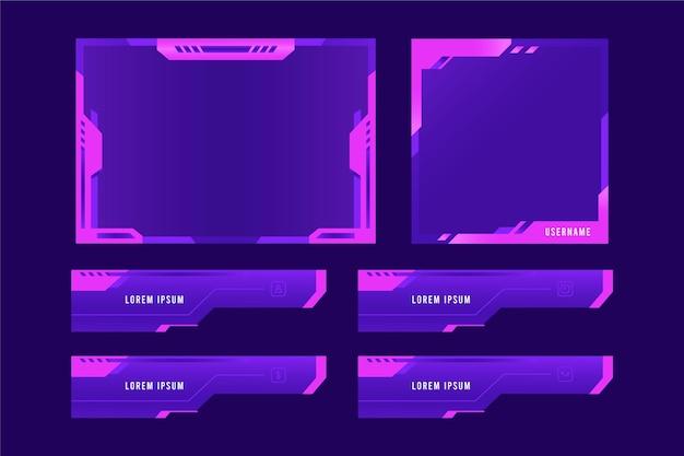 Conjunto de plantillas de paneles de transmisión de twitch