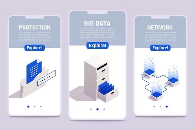 Conjunto de plantillas de pantalla de teléfono inteligente de almacenamiento de datos grandes