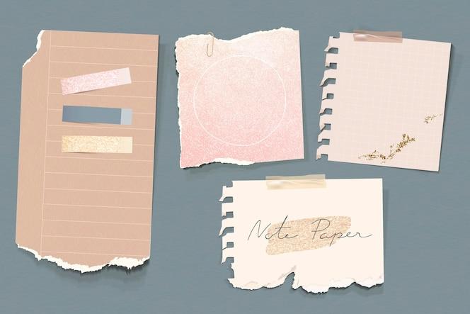Conjunto de plantillas de papel de nota de tono tierra reluciente