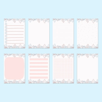 Conjunto de plantillas de papel de papelería romántica primavera melocotón