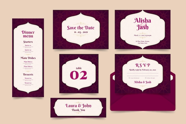 Conjunto de plantillas de papelería de boda india