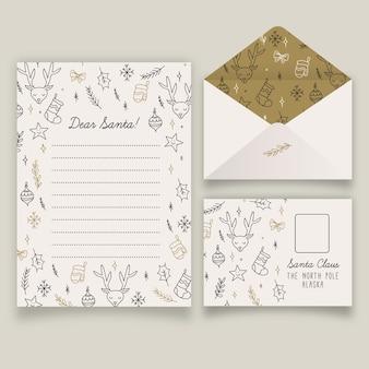 Conjunto de plantillas de papelería de navidad dibujadas a mano