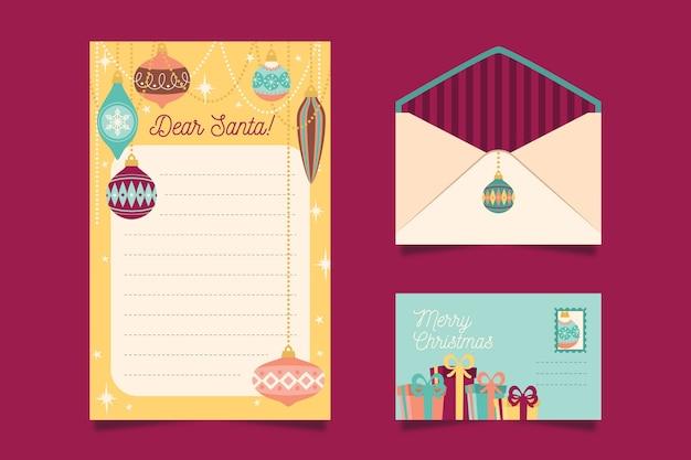 Conjunto de plantillas de papelería de navidad de diseño plano