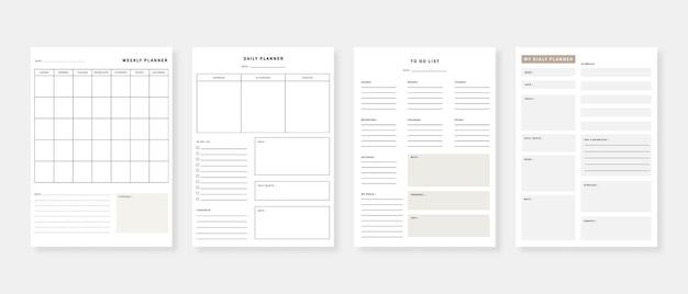 Conjunto de plantillas de planificador moderno minimalista