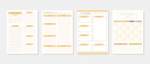 Conjunto de plantillas de planificador moderno