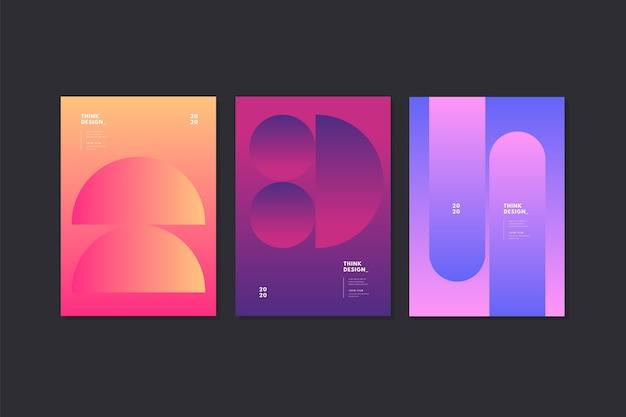 Conjunto de plantillas de portada abstracta moderna