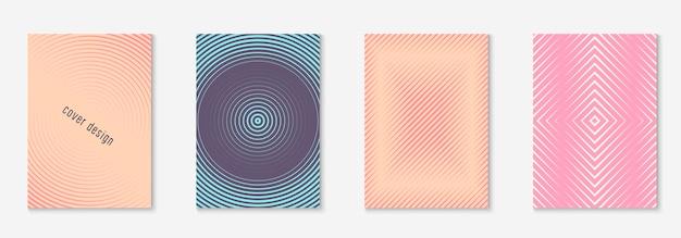 Conjunto de plantillas de portada degradada. diseño minimalista de moda con medios tonos. plantilla de cubierta de degradado futurista para banner, presentación y folleto. formas de colores minimalistas. ilustración de negocio abstracto