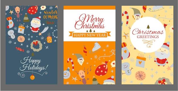 Conjunto de plantillas de portada de folletos con elementos de diseño navideño en vector de tarjetas navideñas de estilo doodle