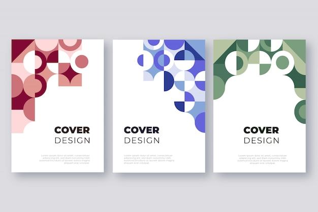 Conjunto de plantillas de portada de formas geométricas