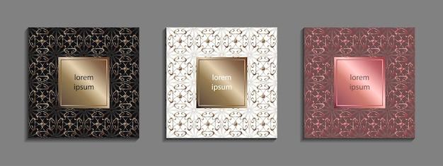 Conjunto de plantillas de portada de lujo. diseño de portada vectorial para carteles, pancartas, folletos, presentaciones y tarjetas.