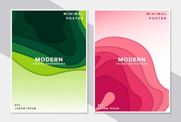 Conjunto de plantillas de portada en papel estilo de diseño.