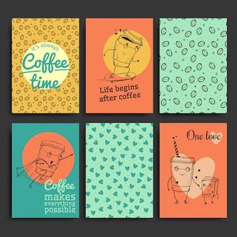Conjunto de plantillas de postales, personajes de café dibujados a mano