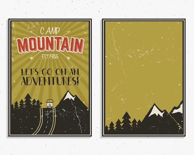 Conjunto de plantillas de póster de aventura de viaje por carretera