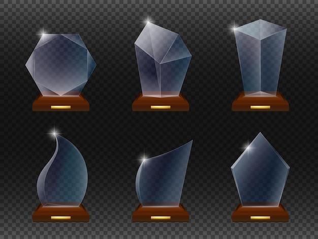 Conjunto de plantillas de premio de vidrio.