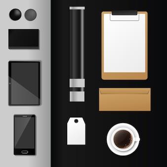 Conjunto de plantillas premium de vector de maqueta de identidad corporativa papelería de oficina de negocios realista 3d