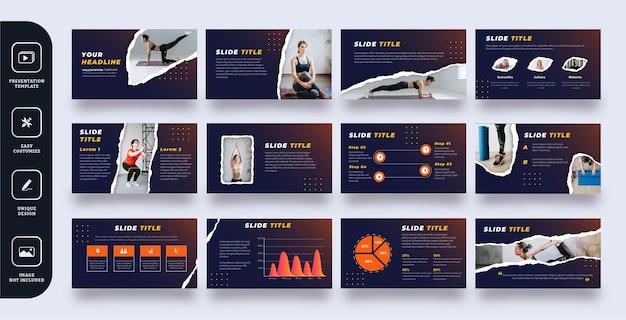 Conjunto de plantillas de presentación de diapositivas de club deportivo