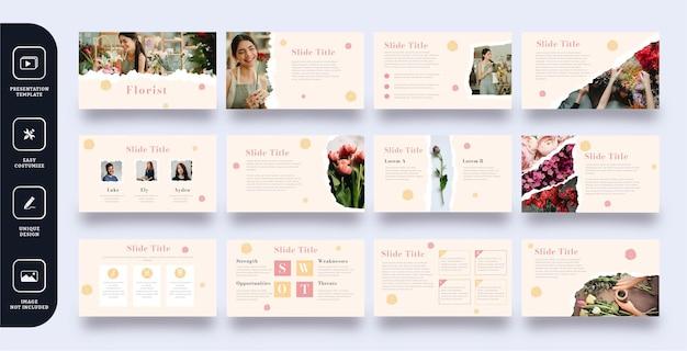 Conjunto de plantillas de presentación de diapositivas de floristería