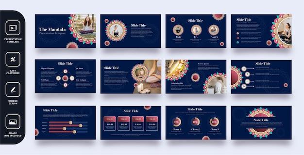 Conjunto de plantillas de presentación de diapositivas de mandala