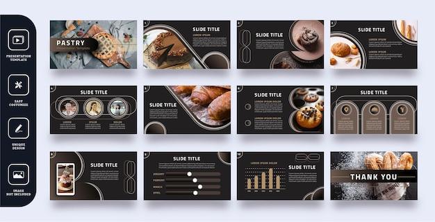 Conjunto de plantillas de presentación de diapositivas de pastelería de lujo