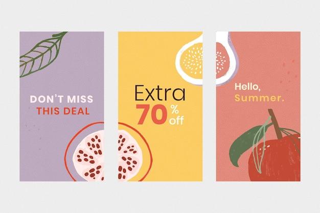 Conjunto de plantillas de promoción de venta de verano en línea
