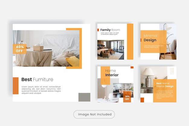 Conjunto de plantillas de publicación de instagram de muebles para el hogar