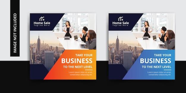 Conjunto de plantillas de publicación de instagram de negocios corporativos